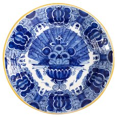 Antique 18th-Century Dutch Delft Peacock Charger