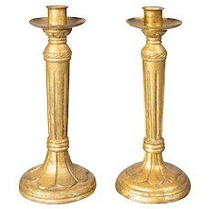 Mid Century Italian Giltwood Candlesticks, a Pair