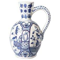 Antique Dutch Delft Faience Bird Floral Pitcher, Wine Jug, Ewer