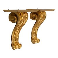 Large Mid Century Italian Carved Giltwood Wall Brackets, a Pair