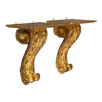 Mid Century Italian Carved Giltwood Wall Brackets, a Pair