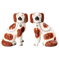 Antique English Staffordshire Spaniel Russet Dogs Figurines, a Pair