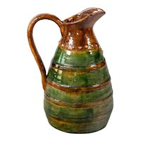 Antique 19th Century French Country Glazed Green Earthenware  Terra Cotta Pitcher Jug