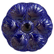 Antique French Sarreguemines Cobalt Blue Oyster Plate, 3 available