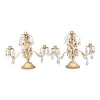 Vintage Italian Gilt Tole & Crystals Candelabras