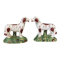 Antique English Staffordshire Dogs Figurines, a Pair