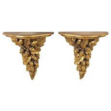 Vintage Italian Giltwood Carved Acorns & Leaves Wall Brackets, a Pair