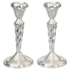 Art Deco Style Sterling Silver Barley Twist Candlesticks, a Pair