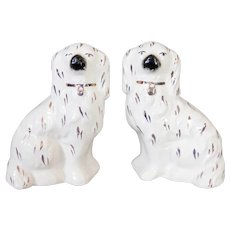 Antique English Staffordshire Spaniel Dogs Figurines, a Pair