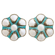 Antique French Porcelain Turquoise Oyster Plates, a Pair