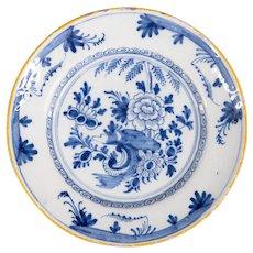 Antique 18th-Century Dutch Delft Chinoiserie Floral Plate
