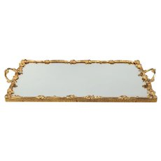 Vintage French Gilt Brass Roses Mirrored Tray