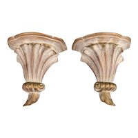 Antique Italian Distressed White and Gold Giltwood Wall Brackets Shelves, a Pair