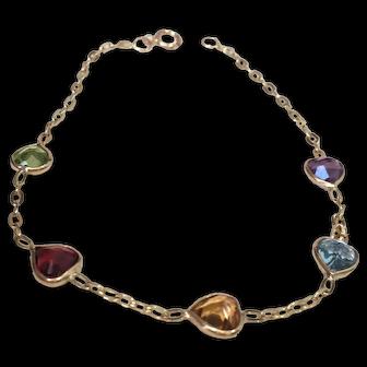 Gemstone Bracelet With Heart Shaped Birthstones 14K Yellow Gold
