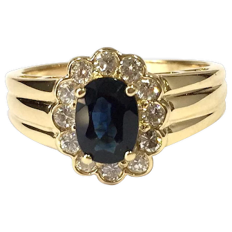 Blue Sapphire And Diamond Vintage Yellow Gold Ring