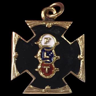 Vintage Order Of Odd Fellows Enamel Pendant/Charm