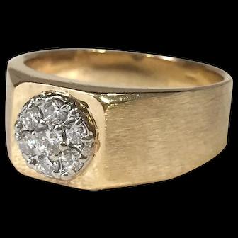 Men's Vintage Diamond Cluster Ring 14K Yellow Gold
