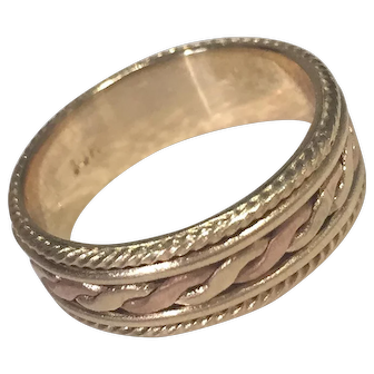 Two-Tone Ladies Woven Braided Wedding Band 14K Rose And Yellow Gold