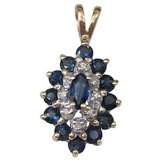 Blue Sapphire And Diamond Pendant Marquise Shaped 14K Gold