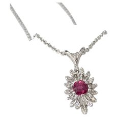 Vintage Ruby And Diamond Snowflake Pendant