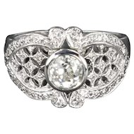 Art Deco 1.55 CTTW Diamond and 18kt White Gold Ring