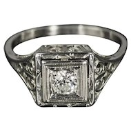 14kt White Gold, .30ct Diamond, Art Deco Ring