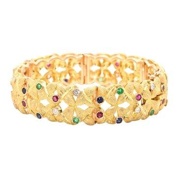 18kt Yellow Gold Florentine Finish Bracelet with Diamonds Sapphires Emeralds Rubies