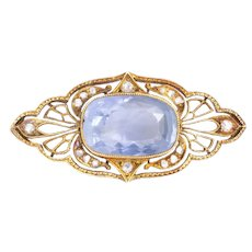 Victorian Pin Brooch having a 7.25ct cornflower-blue Sapphire and Diamonds
