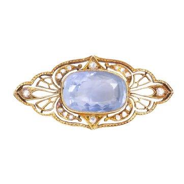 Victorian Pin Brooch having a 7.25ct cornflower-blue Sapphire and Diamonds