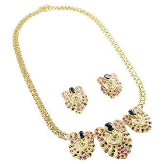 18kt Yellow Gold Necklace having Sapphires, Rubies and Diamonds along with a Pair of matching 18kt Yellow Gold Earrings