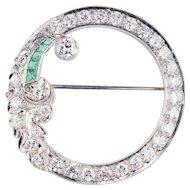 Platinum, Diamond & Emerald Circle Brooch 2.46cts  Art Deco