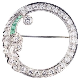 Platinum, Diamond & Emerald Circle Brooch 2.46cts  Art Deco