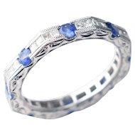 18kt White Gold, Art Deco-Style Princess Diamond & Sapphire Band - Hand Engraved