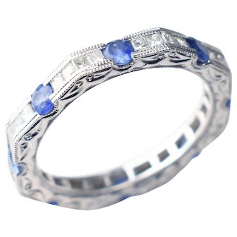 18kt White Gold, Art Deco-Style Princess Diamond & Sapphire Band - Hand Engraved