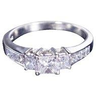 14kt White Gold, Three Stone Engagement Ring, 1.20 cttw Princess-Cut Diamond