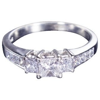 14kt White Gold, Three Stone Engagement Ring, 1.20 cttw Princess-Cut Diamond
