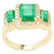 14kt Yellow Gold,  Three-Stone Colombian Emeralds and Diamonds Ring