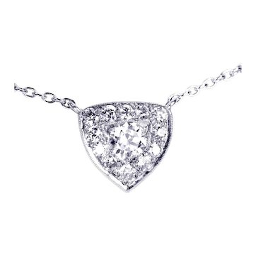 18kt White Gold, Vintage Multi Diamond Pendant & 14kt White Gold Chain