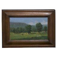 "RON SCHAEFER (American, b. 1944). ""View from Ferris Farm"". Oil on Masonite."