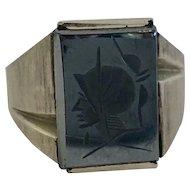 Vintage 10k White Gold & Hematite Intaglio Men's Ring