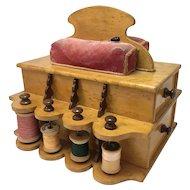 Antique Birdseye Maple Sewing Box Caddy