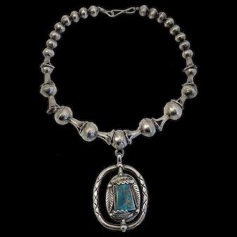 Vintage Hopi Reversible Turquoise, Coral, & Sterling Necklace