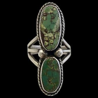 Vintage Signed Hopi Sterling & Turquoise Ring