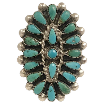 Vintage Zuni Petit Point Turquoise and Sterling Silver Ring
