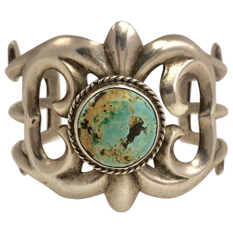 Heavy Vintage Navajo Turquoise and Sterling Sandcast Bracelet