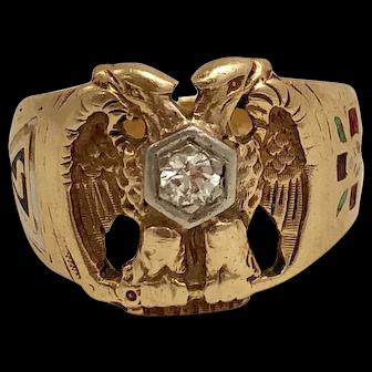 Masonic 10k Gold and Diamond Ring