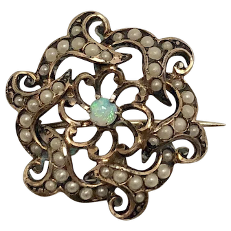 Victorian Opal and Seed Pearl Sterling Silver Pendant-Brooch