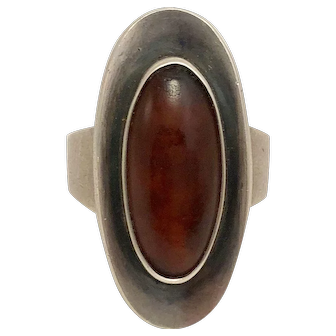 Danish Modern Sterling Silver and Amber Ring by N. E. From