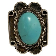 Vintage Navajo or Pueblo Sterling Silver and Turquoise Ring