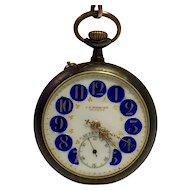 Antique Swiss Roskopf Pocket Watch with Fancy Dial